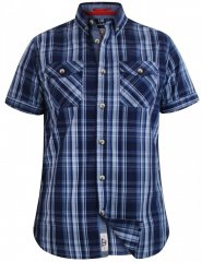 D555 Safford Short Sleeve Navy Check Shirt