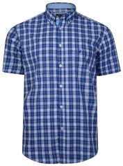 Kam Jeans 6155 Short Sleeve Check Shirt Blue