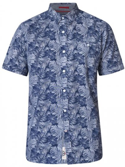 D555 Sheldon Hawaii Shirt Navy - Skjorter - Store skjorter - 2XL-8XL