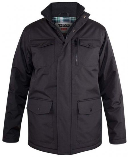 D555 Fargo Five Pocket Jacket With Ribbed Neck and Inner Quilting Black - Jakker & Regntøy - Store jakker - 2XL-8XL
