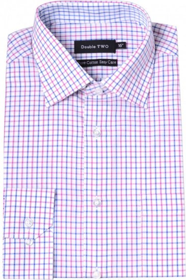 Double TWO Formal Shirt 3576 Pink L/S - Skjorter - Store skjorter - 2XL-8XL