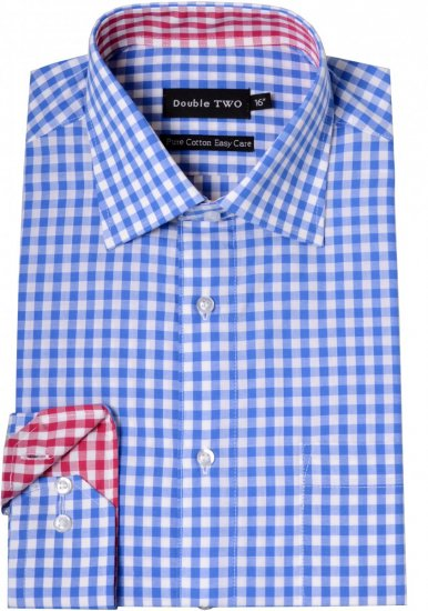 Double TWO Formal Shirt 3577 Blue L/S - Skjorter - Store skjorter - 2XL-8XL