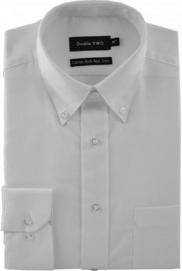 Double TWO Non-Iron Oxford Lang erm Hvit - Skjorter - Store skjorter - 2XL-8XL