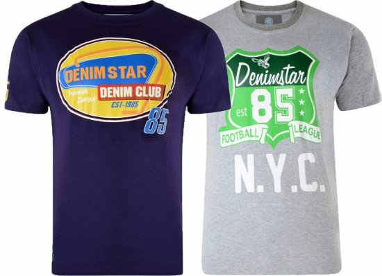 Kam Jeans Star 2-pack T-shirt Grey/Purple - T-skjorter - Store T-skjorter - 2XL-8XL
