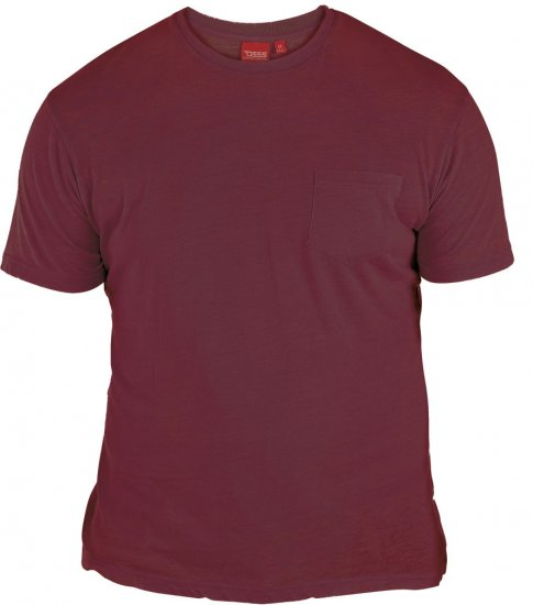 D555 Mavi T-shirt Burgundy with Pocket - T-skjorter - Store T-skjorter - 2XL-8XL