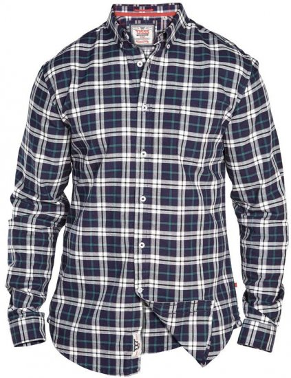 D555 Carter Check Shirt Navy-Green - Skjorter - Store skjorter - 2XL-8XL