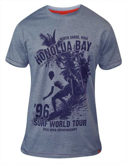 D555 CLAYTON Honolua Bay T-shirt Denim Marl - T-skjorter - Store T-skjorter - 2XL-8XL