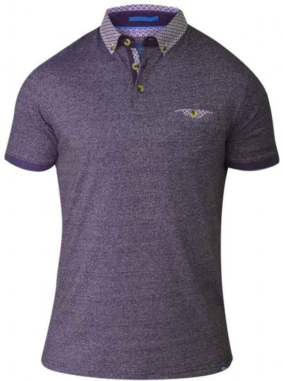D555 DIEGO Short Sleeve Twist Polo Purple - Polo- & Piqueskjorter - Poloskjorte i store størrelser - 2XL-8XL