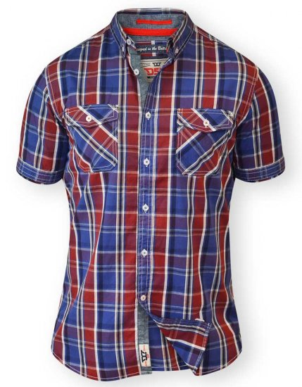 D555 ELIAS Short Sleeve Blue & Red Check Shirt - Skjorter - Store skjorter - 2XL-8XL