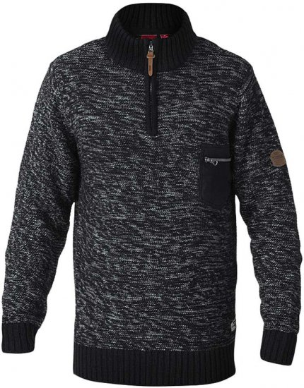 D555 REMINGTON Sweater With Woven Zipper Chest Pocket Black/Charcoal - Gensere og Hettegensere - Store hettegensere - 2XL-8XL