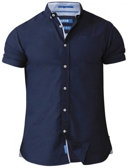 D555 Norman Short Sleeve Oxford Shirt Navy - Skjorter - Store skjorter - 2XL-8XL