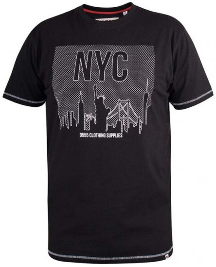 D555 Willoughby NYC Dot Printed T-Shirt Black - T-skjorter - Store T-skjorter - 2XL-8XL