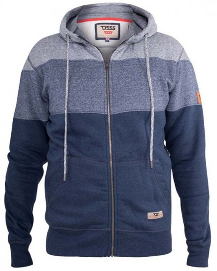 D555 Columbus Cut And Sew Panelled Zip Through Hoody Blue - Gensere og Hettegensere - Store hettegensere - 2XL-8XL