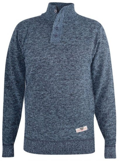 D555 Wilmington Zipper And Button Neck Sweater Blue - Gensere og Hettegensere - Store hettegensere - 2XL-8XL