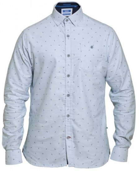 D555 Addington Printed Oxford Shirt Blue - Skjorter - Store skjorter - 2XL-8XL