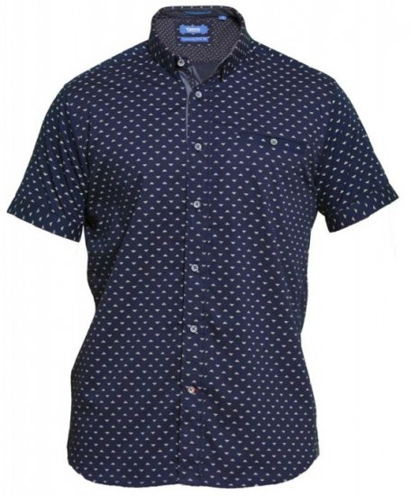 D555 Barrington Short Sleeve Shirt Navy - Skjorter - Store skjorter - 2XL-8XL