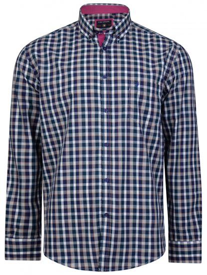 Kam Jeans 6156 Long Sleeve Check Shirt Navy - Skjorter - Store skjorter - 2XL-8XL