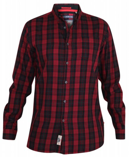 D555 Theo Long Sleeve Check Shirt - Skjorter - Store skjorter - 2XL-8XL