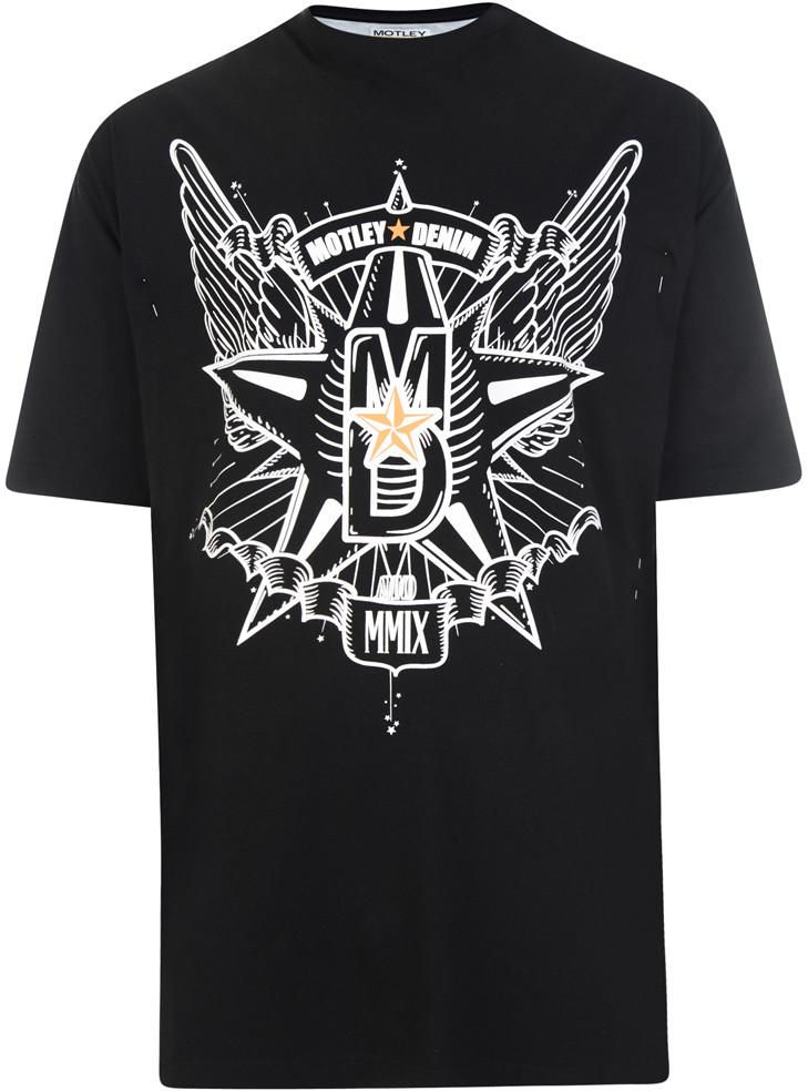 Motley Denim T skjorte Svart i store størrelser MotleyDenim.no