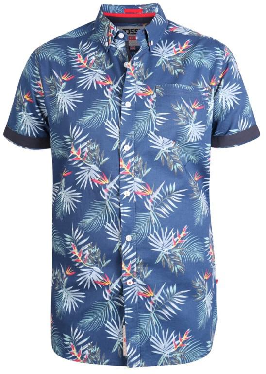 D555 Reuben Hawaii Shirt Navy i store størrelser